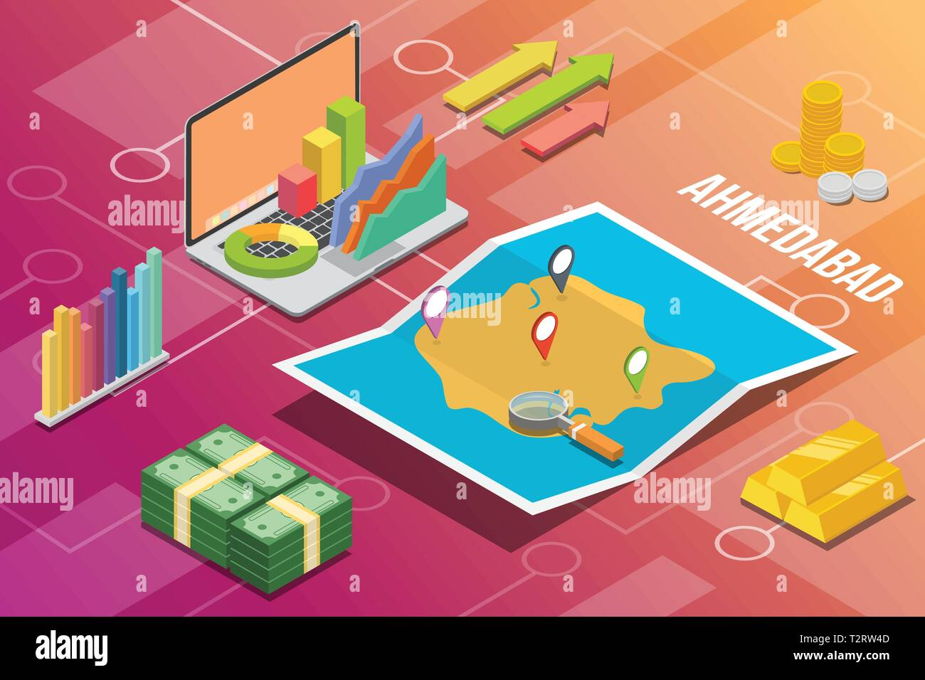 ahmedabad city isometric financial economy condition concept for describe cities growth expand - vector illustration - Stock Vector