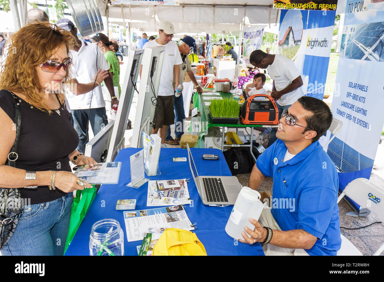 Miami Florida Bayfront Park Miami Goin' Green eco-friendly Earth Day celebration community fair green event sustainable lifestyl - Stock Image