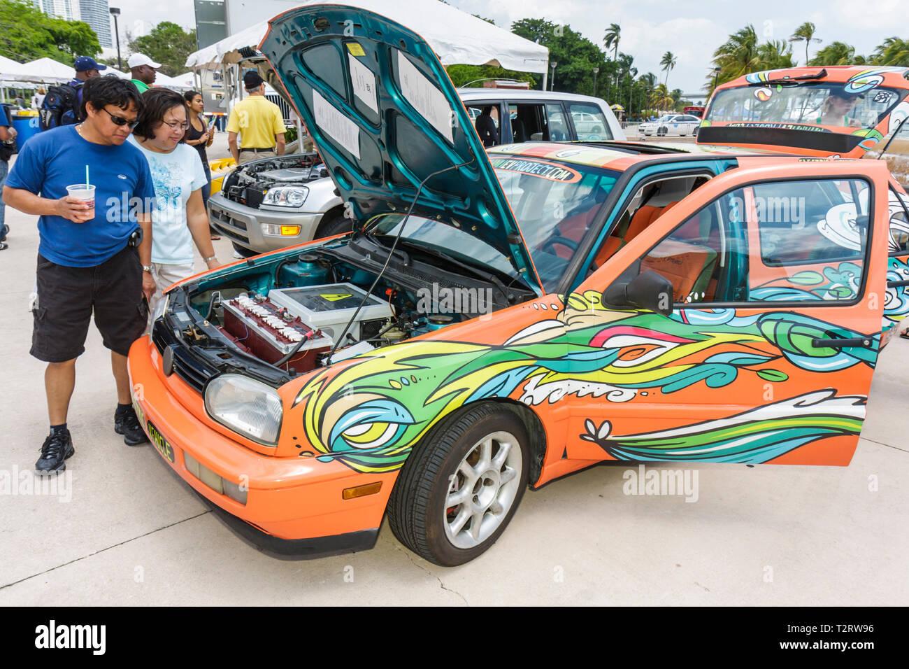 Miami Florida Bayfront Park Miami Goin' Green eco-friendly environment green event exhibitor EV Project electric vehicle car alt Stock Photo