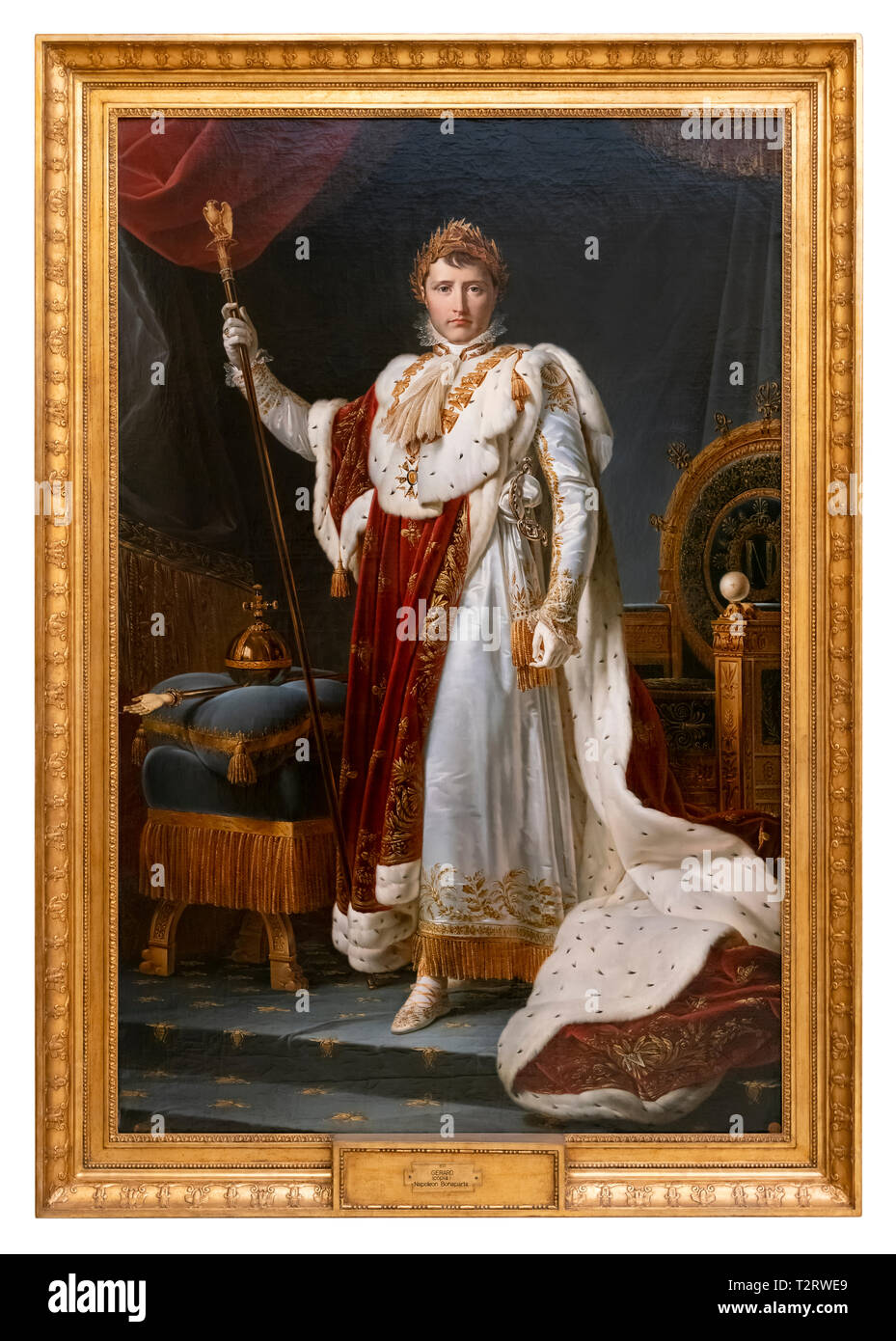 Coronation of Napoleon Bonaparte. Emperor Napoleon portrait painting in coronation dress and insignia by François Gérard (workshop of) 1805 - Stock Image
