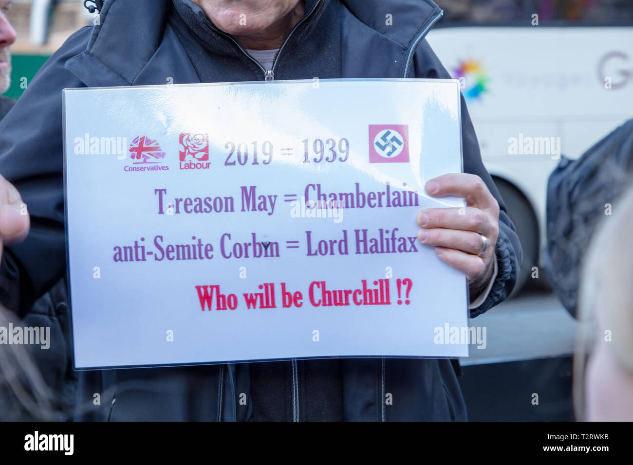 Brexiteer comparing Theresa May with Chamberlain and treason and Jeremy Corbyn with Lord Halifax and anti-Semitism, asking Who will be Churchill. - Stock Image