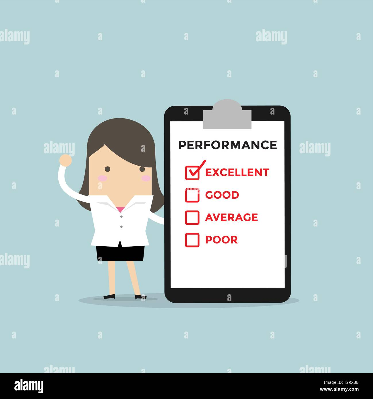 Businesswoman with performance check list. - Stock Vector