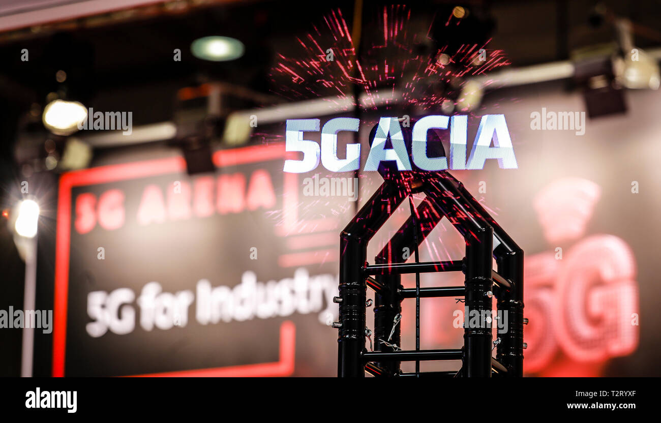 Hanover, Lower Saxony, Germany - 5G-ACIA, Alliance for Connected Industries and Automation Projection in the 5G Arena at the Hanover Fair. 5G-ACIA in  - Stock Image