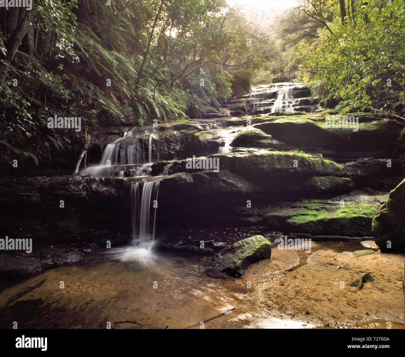 Water flow at Leura Falls, New South Wales. - Stock Image