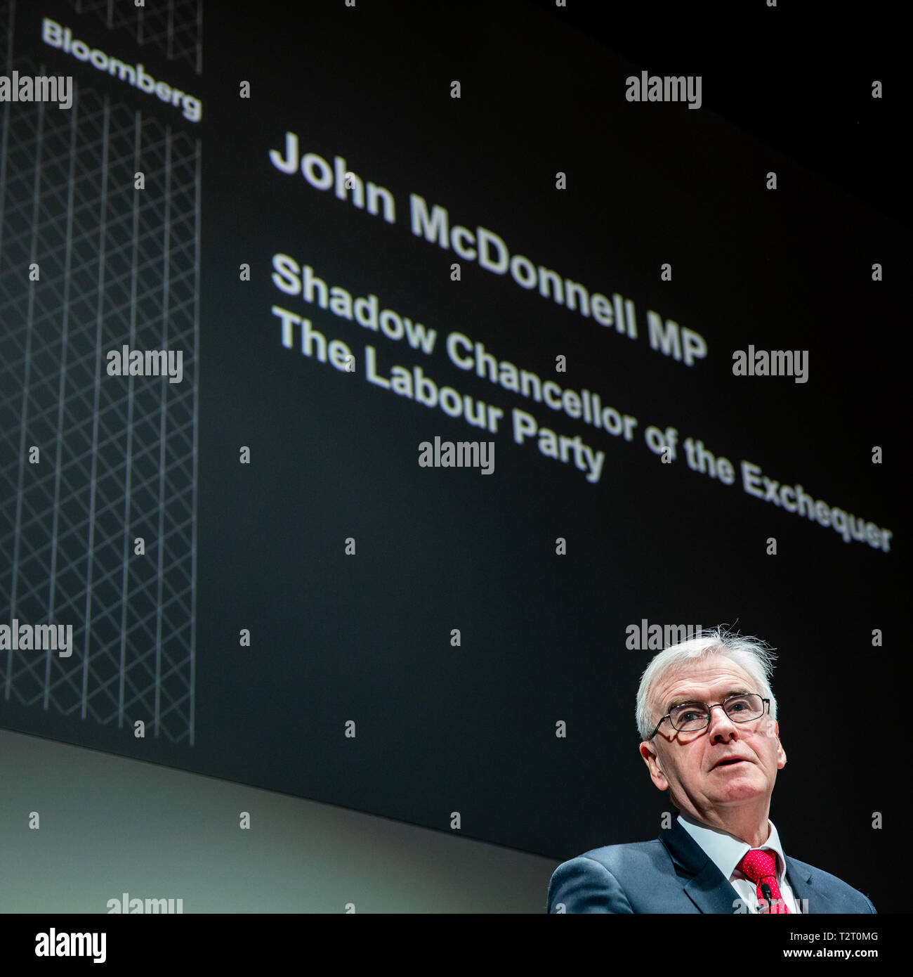 Shadow Chancellor of the Exchequer, John McDonnell, gives a speech to businesses leaders at the Bloomberg European headquarters in London. Stock Photo
