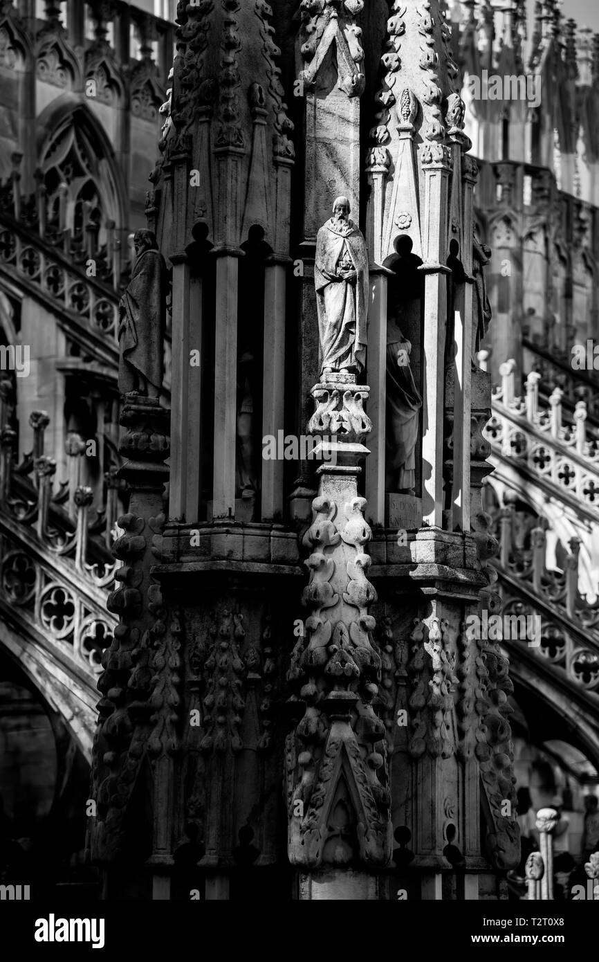 Duomo di Milano, tower fragmet black and white, no color, no people, suny light - Stock Image