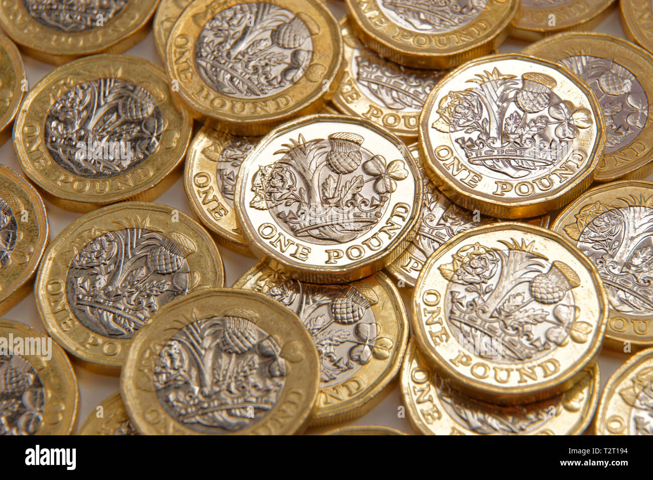 UK Pound Sterling coins. - Stock Image
