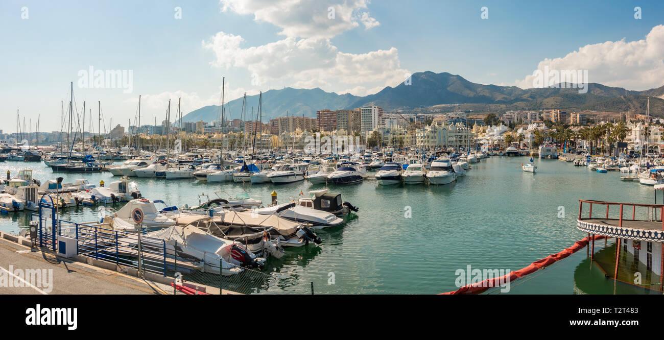 Benalmádena port, luxury Puerto Marina, Costa del Sol, Málaga province. Andalusia, Southern Spain, Europe. - Stock Image