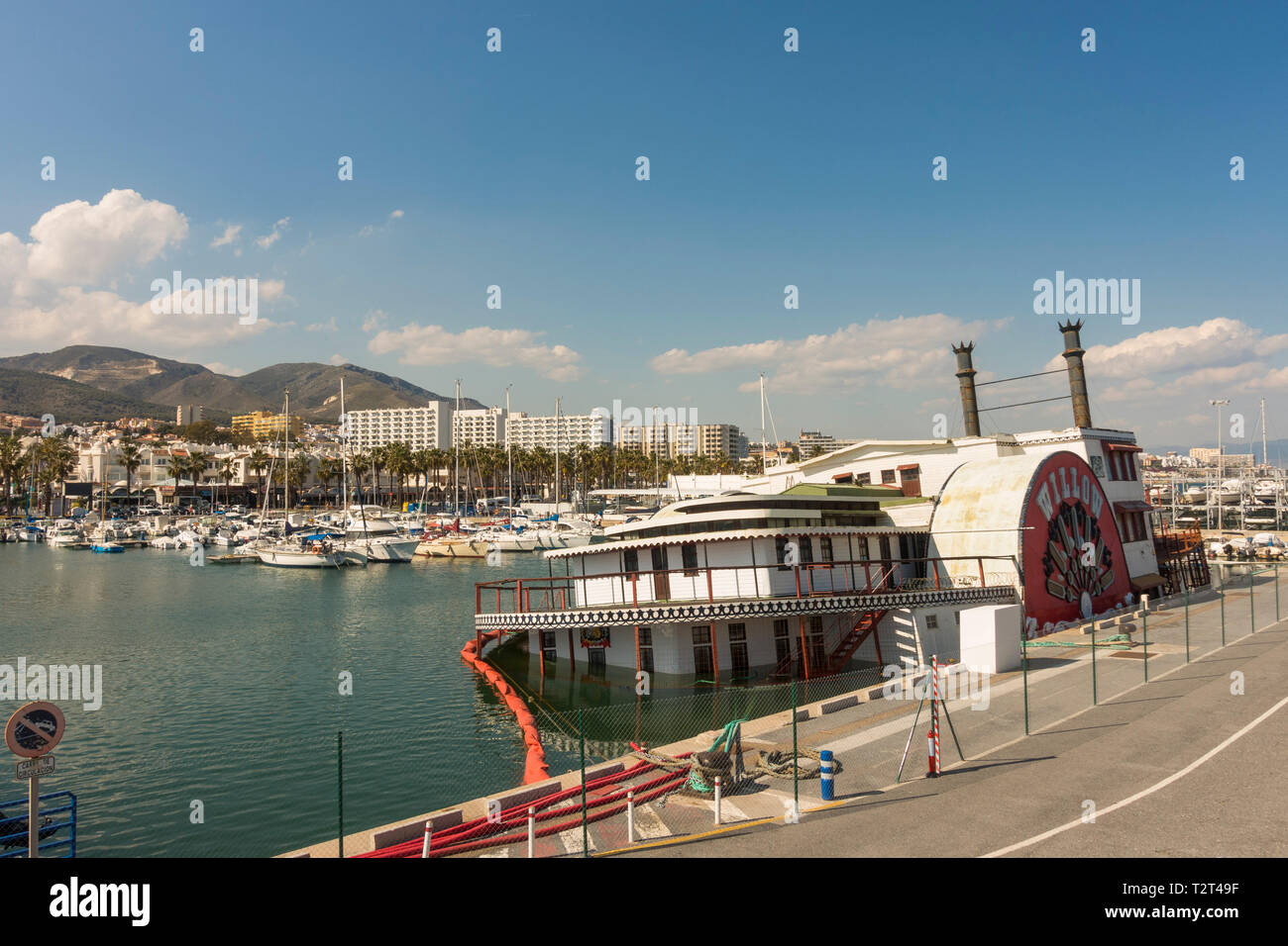 "The Mississippi Steam Boat ""Willow"" half sunken, tied up at the Marina Benalmádena Puerto. Port. Andalusia, Spain. Stock Photo"