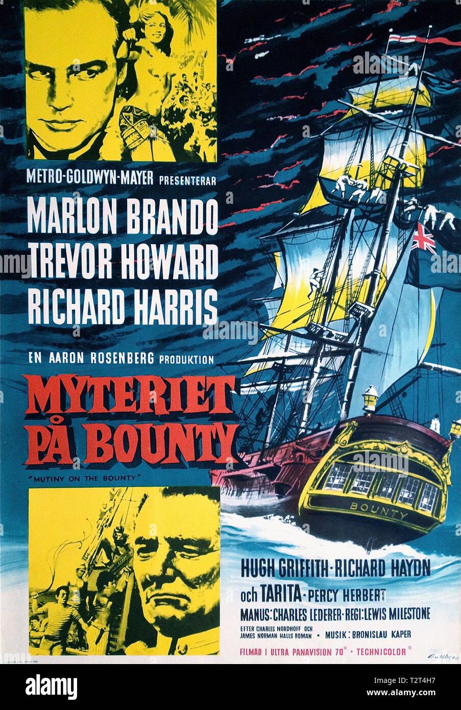 LES REVOLTES DU BOUNTY MUTINY ON THE BOUNTY 1962 de Lewis Milestone affiche suedoise histoire vraie; aventure; true story; adventure; swedish poster;  Stock Photo