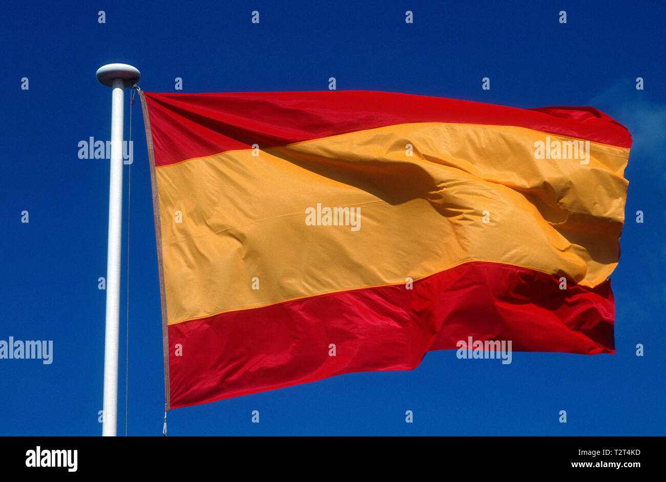 Spanish flag waving in the wind - Stock Image