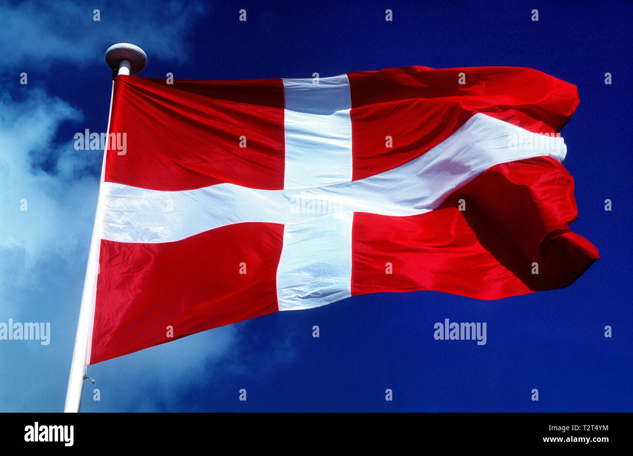 Danish flag waving in the wind - Stock Image