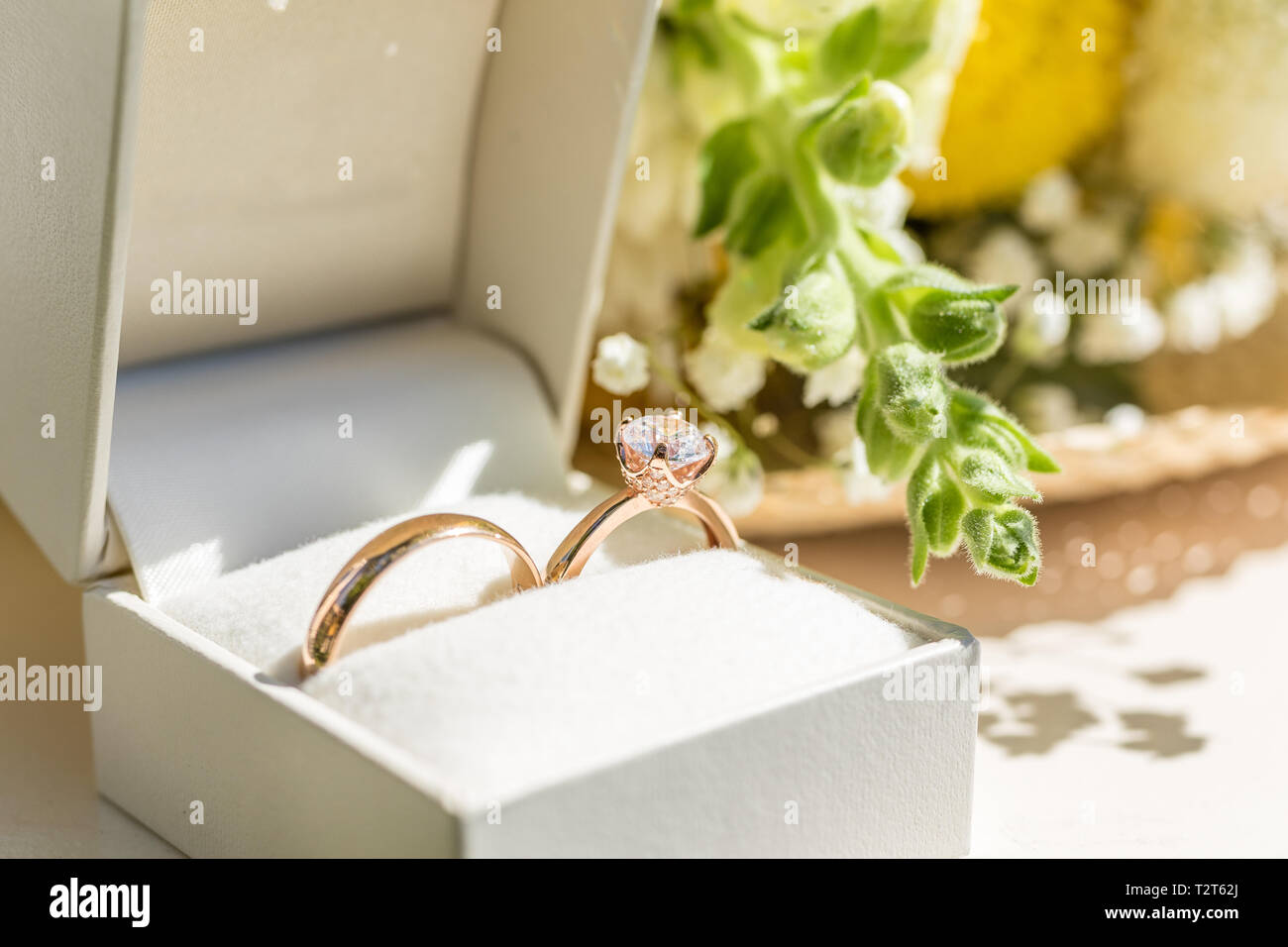 Golden wedding rings in a white box. Flowers on the background. Close up. - Stock Image