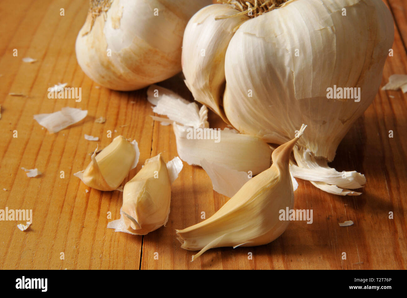Fresh organic garlic cloves and bulbs on a wooden background - Stock Image