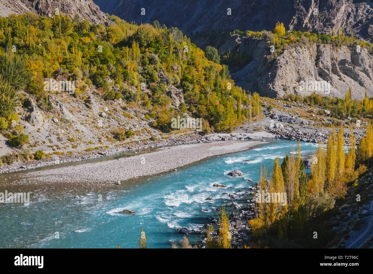 Turquoise Ghizer river flowing through forest in Gahkuch, surrounded by mountains. Gilgit Baltistan, Pakistan. - Stock Image