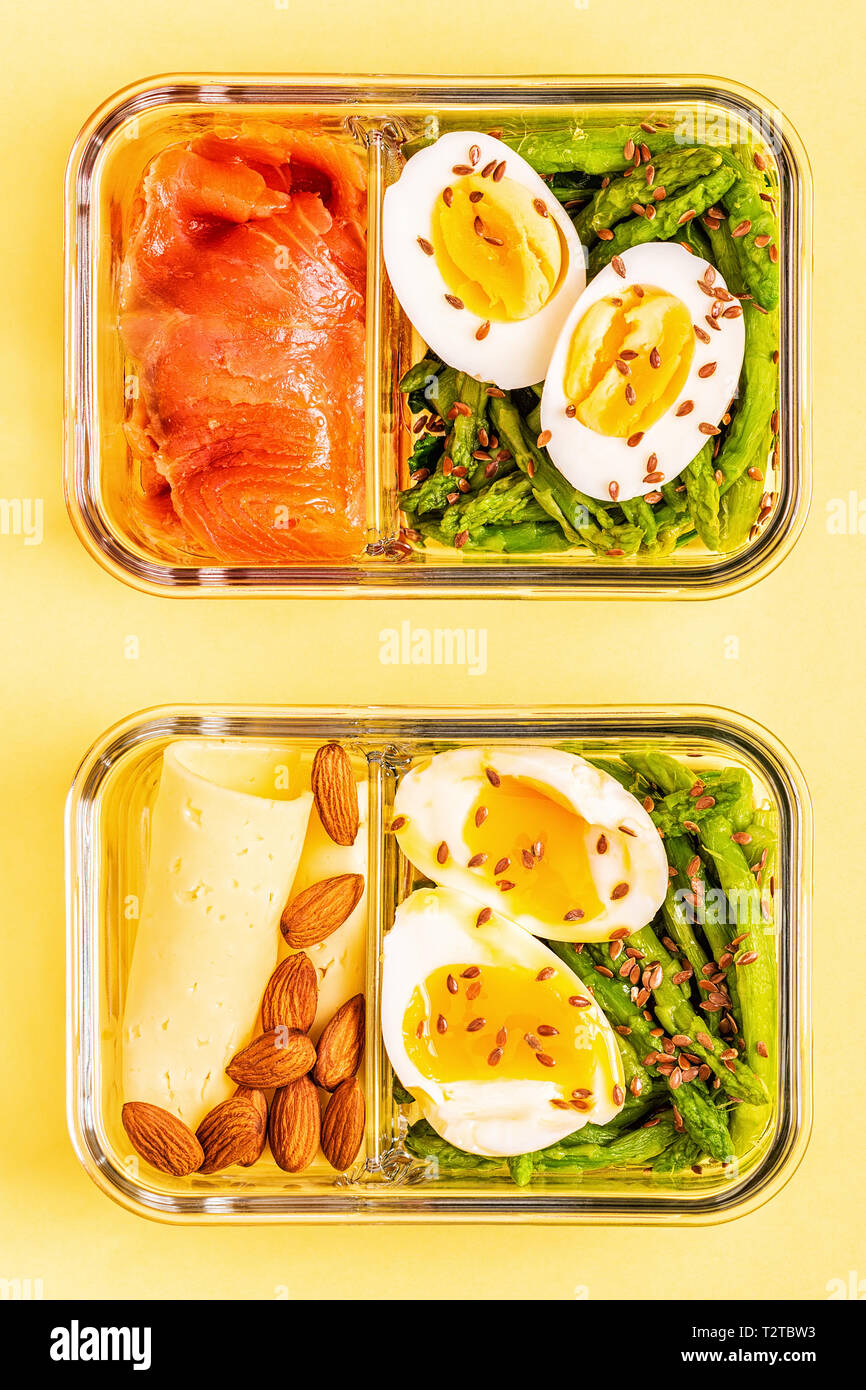 Healthy Balanced Lunch Box Ketogenic Diet Lunch Home Food For Office Concept Stock Photo Alamy