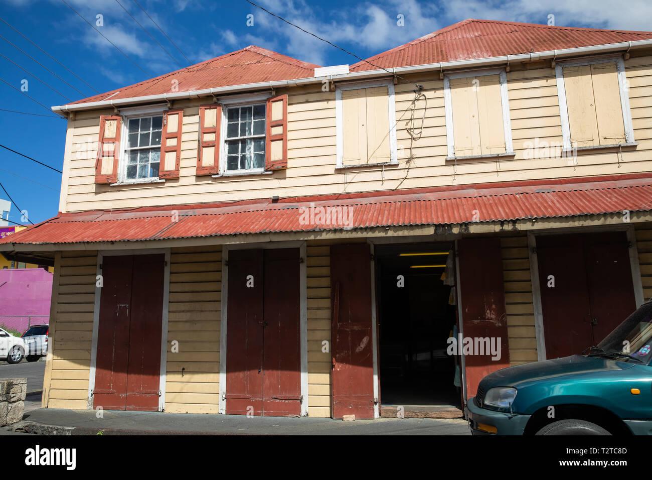 Colourful building in Saint John's, Capital of Antigua and Barbuda Stock Photo