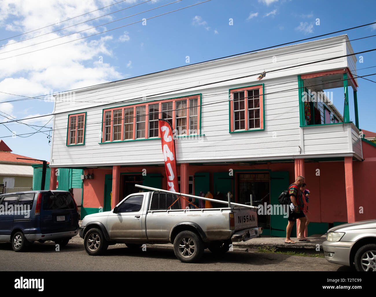 Colourful building in Saint John's, Capital of Antigua and Barbuda Stock Photo