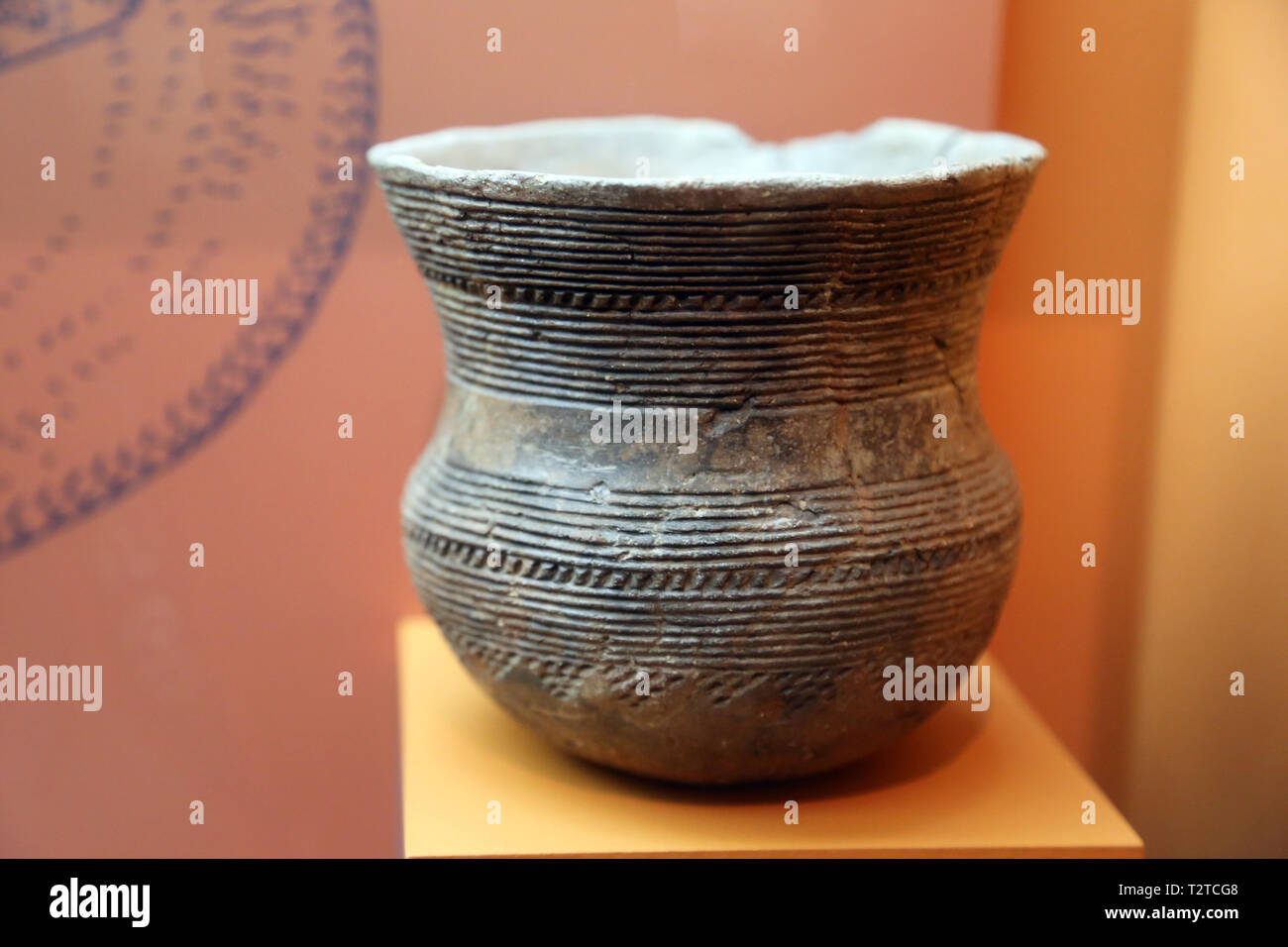 Bell-shaped vase. Chalcolithic. Ventosa cave. Piera, Catalonia, Spain. Archaeology Museum of Catalonia. Barcelona. Spain. - Stock Image
