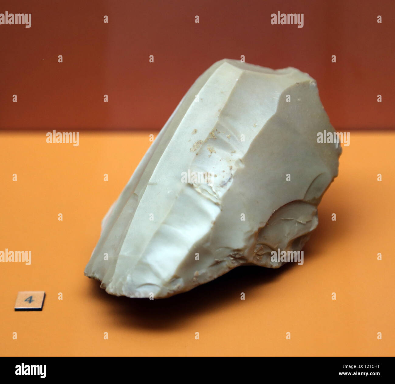 Silex core. Middle Neolithic. Bobila Bellsola, Catalonia, Spain. Archaeology Museum of Catalonia. Barcelona. Spain. - Stock Image