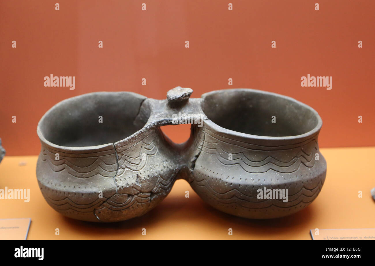 Double vase. Late  or Middle Bronze Age. Green cave. Sitges. Archaeology Museum of Catalonia. Barcelona. Spain. - Stock Image