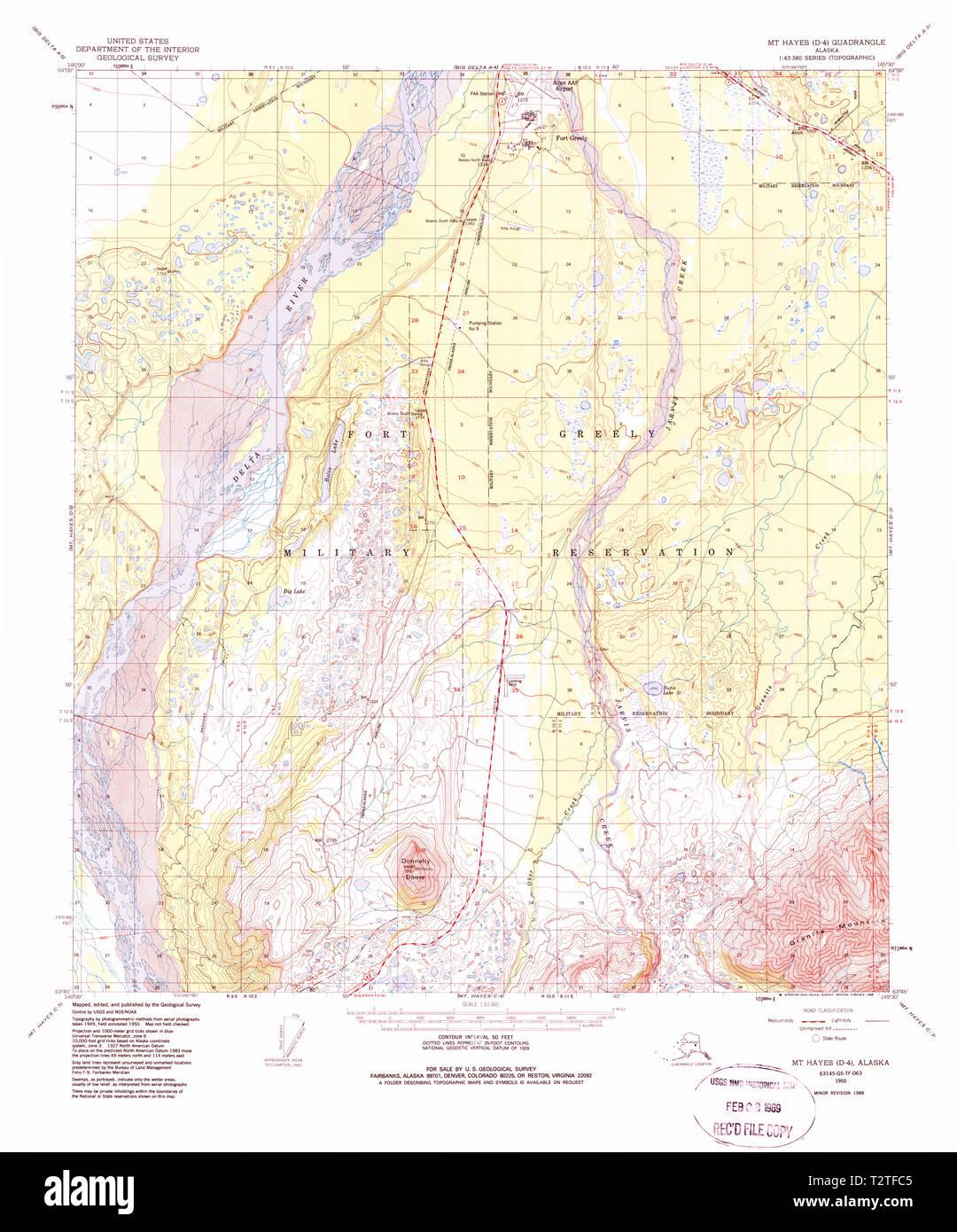 USGS TOPO Map Alaska AK Mt Hayes D-1 357866 1950 63360 Restoration ...