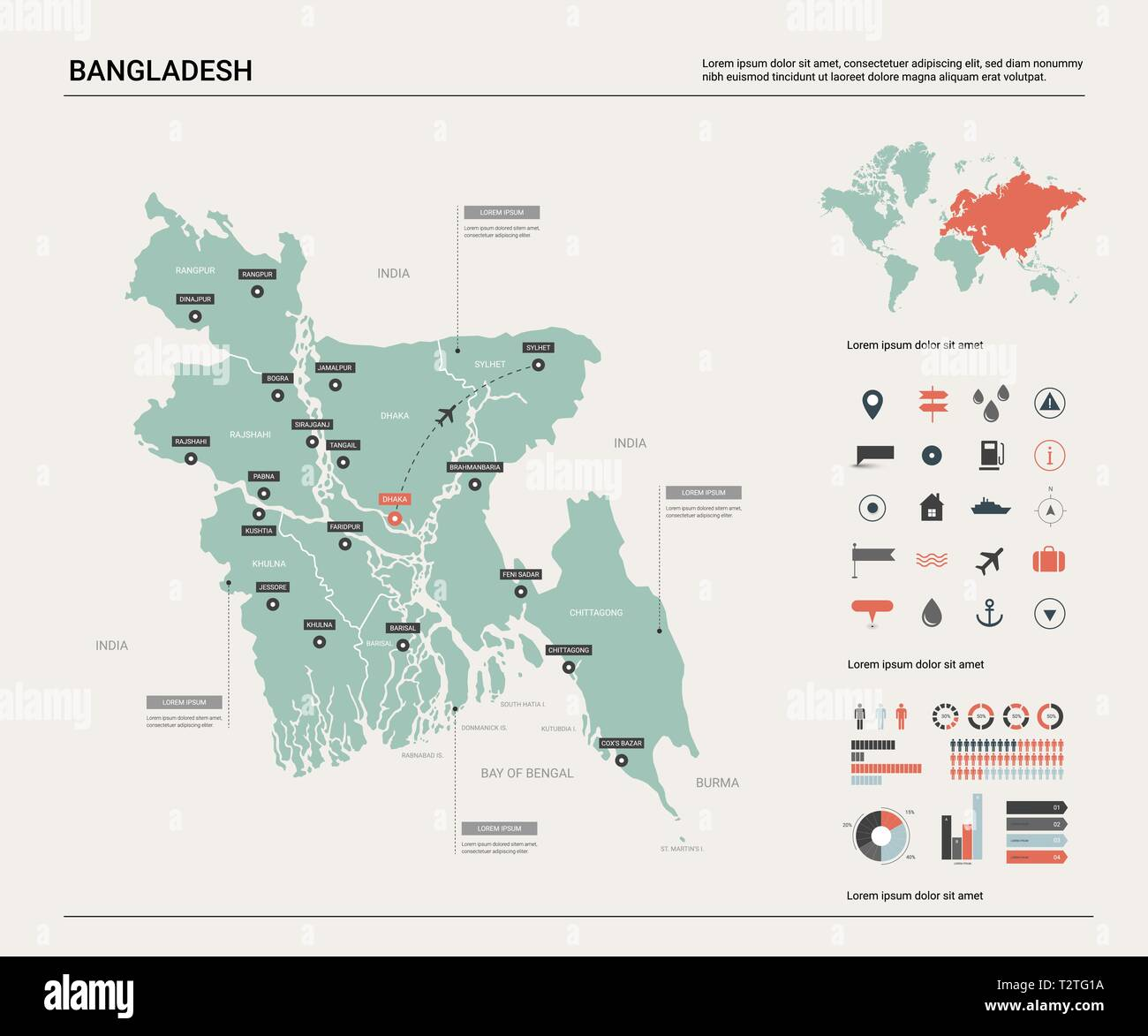 Picture of: Vector Map Of Bangladesh High Detailed Country Map With Division Cities And Capital Dhaka Political Map World Map Infographic Elements Stock Vector Image Art Alamy