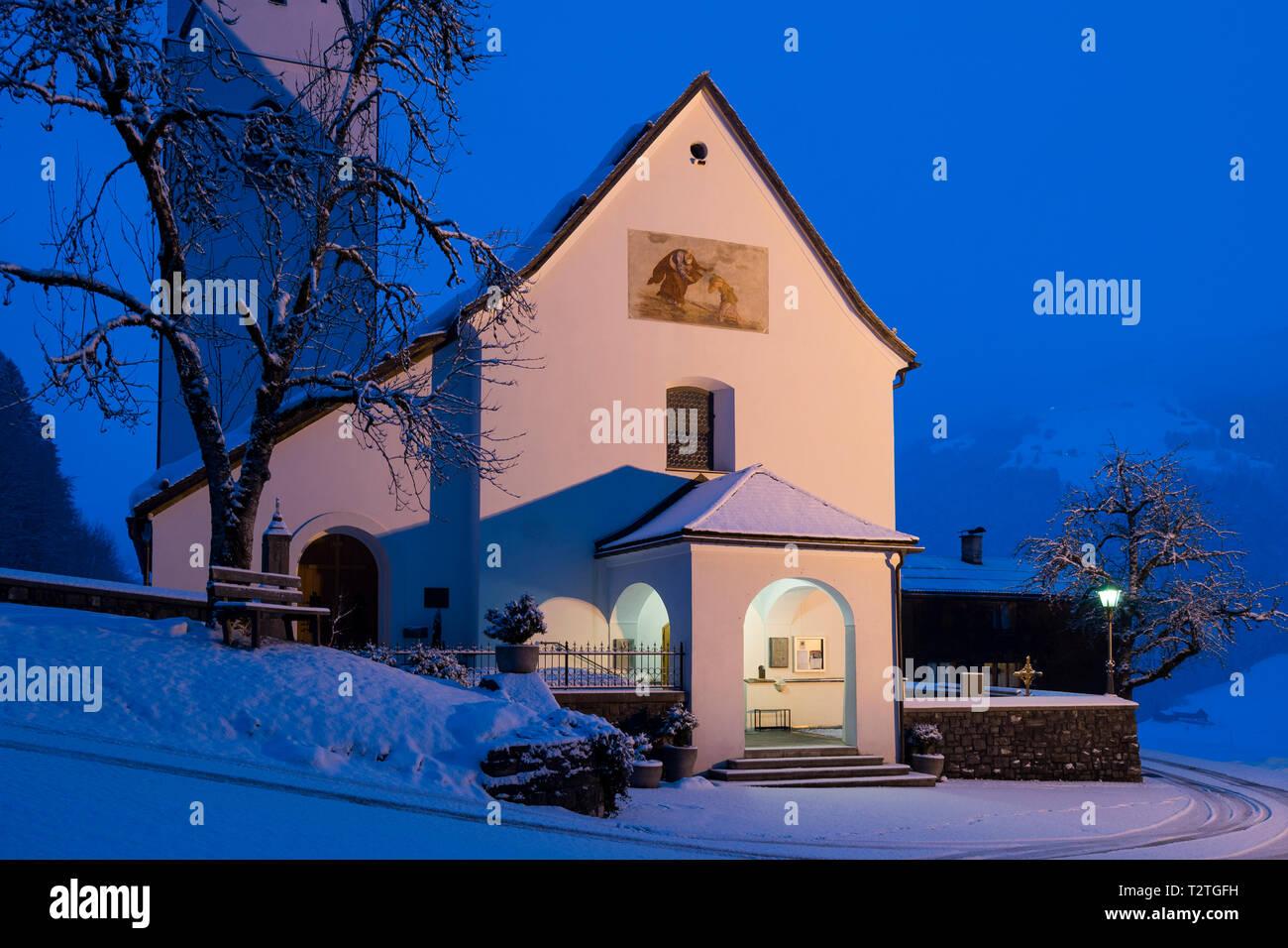 Austria, Biosphere Park Grosses Walsertal, Sonntag Stein, Sonntag Church (888 m) at dawn - Stock Image