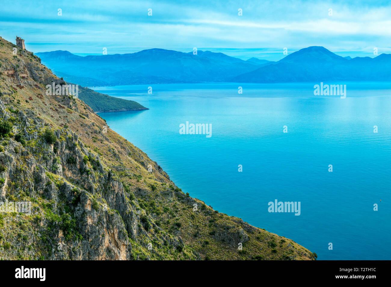 Italy, Campania, Cilento National Park,  Masseta and Infreschi Marine protected area, Morice watchtower and Policastro Gulf - Stock Image