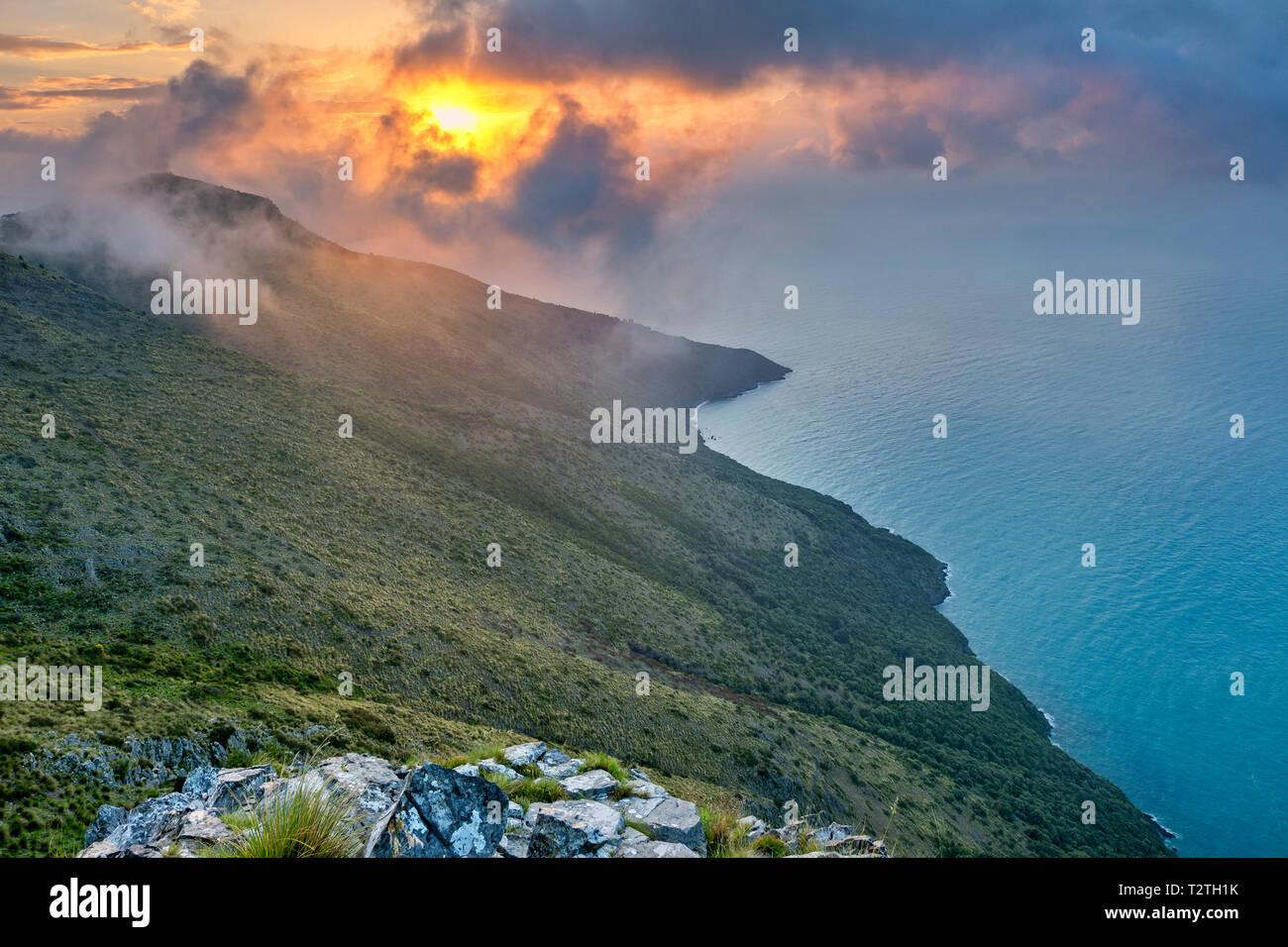 Italy, Campania, Cilento National Park,  Masseta and Infreschi Marine protected area, Policastro Gulf, sunrise - Stock Image