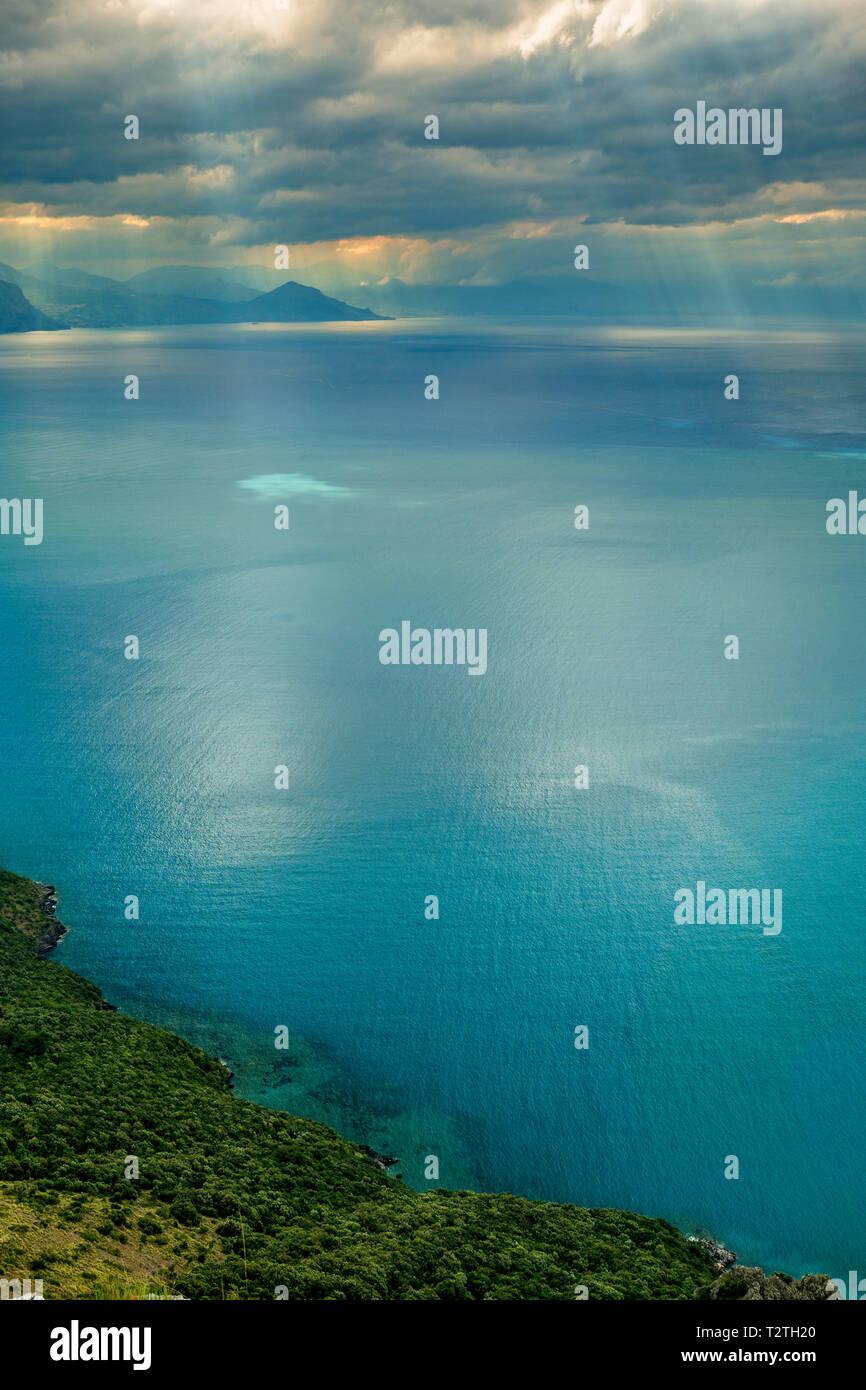 Italy, Campania, Cilento National Park, Policastro Gulf from  Masseta and Infreschi Marine coastline - Stock Image