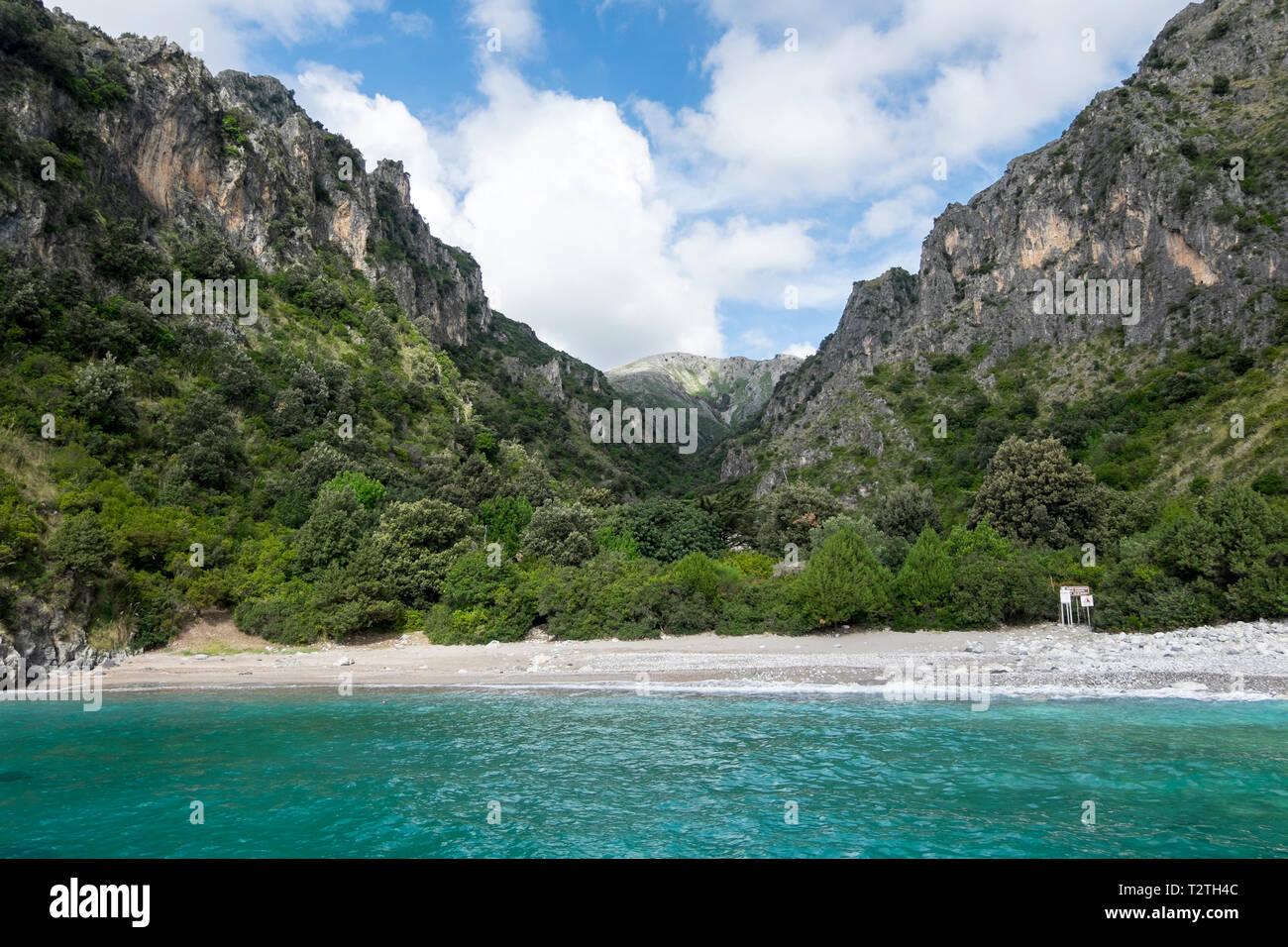 Italy, Campania, Cilento National Park,  Masseta and Infreschi Marine protected area, sea cliff, Marcellino beach - Stock Image