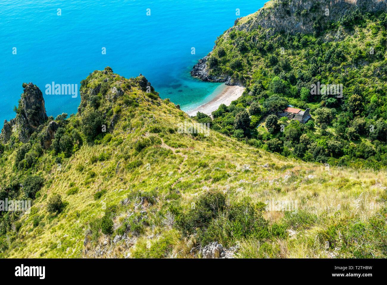 Italy, Campania, Cilento National Park, Masseta and Infreschi Marine protected area, sea cliff, Marcellino beach and gorge - Stock Image