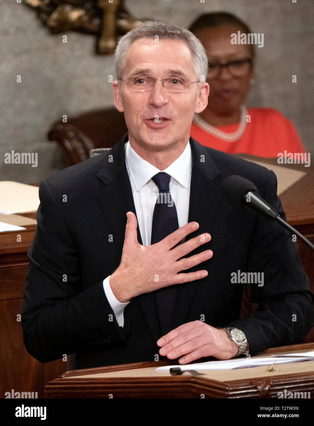 Jens Stoltenberg, Secretary General of the North Atlantic Treaty Organization (NATO) addresses a joint session of the United States Congress in the US Capitol in Washington, DC on Wednesday, April 3, 2019. Credit: Ron Sachs/CNP /MediaPunch Stock Photo