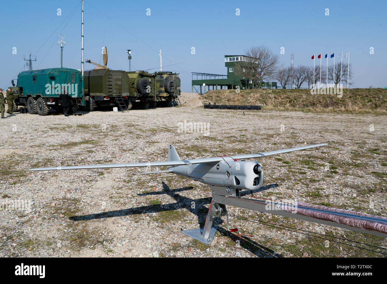 Russia. 04th Apr, 2019. KALININGRAD REGION, RUSSIA - APRIL 4, 2019: An unmanned aerial vehicle is seen during a military exercise in amphibious landing on an unimproved shore by the Russian Baltic Fleet's amphibious assault forces at the Khmelevka range. Over 20 surface vessels of the Russian Baltic Fleet, about 20 aircraft of the Russian Naval Aviation, and over 40 units of military hardware of Russia's Coastal Troops take part in the training. Vitaly Nevar/TASS Credit: ITAR-TASS News Agency/Alamy Live News Stock Photo
