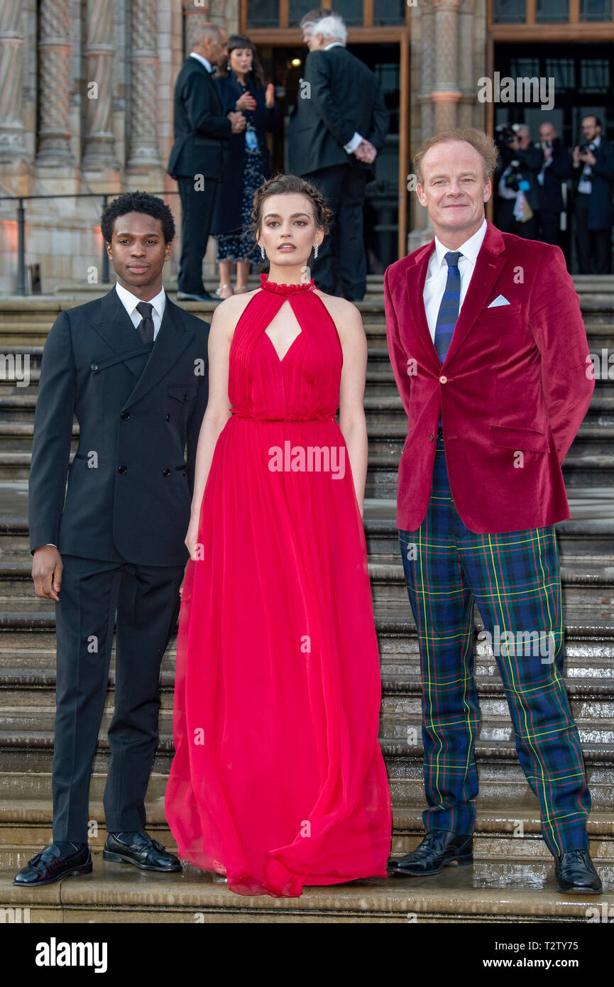 London, United Kingdom. 4 April 2019. Kedar Williams-Stirling, Emma Mackey & Alistair Petrie attend the global premiere of 'Our Planet' presented by Netflix. Credit: Peter Manning/Alamy Live News Stock Photo