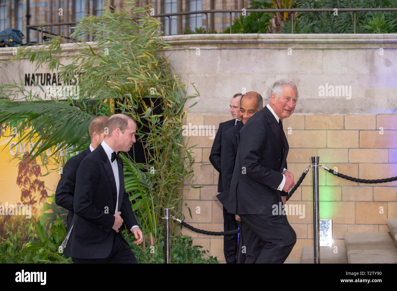 London, United Kingdom. 4 April 2019. Prince William, Prince Harry & Prince Charles arrive the global premiere of 'Our Planet' presented by Netflix. Credit: Peter Manning/Alamy Live News Stock Photo