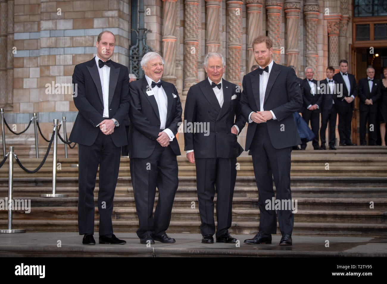 London, United Kingdom. 4 April 2019. Prince William, Sir David Attenborough, Prince Charles & Prince Harry pose for photographs at the global premiere of 'Our Planet' presented by Netflix. Credit: Peter Manning/Alamy Live News Stock Photo