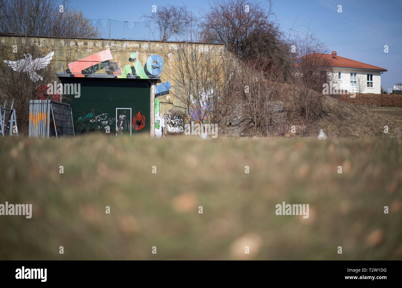 Mutlangen, Germany. 28th Feb, 2019. A bunker stands at the edge of the Mutlanger Heide residential area. Before being converted into a residential area, the site served as a missile base on which US medium-range nuclear missiles of the Pershing II type were stationed. (to dpa: 'No, no, Njet' - The Eastern Alb sends peace signals again) Credit: Marijan Murat/dpa/Alamy Live News - Stock Image