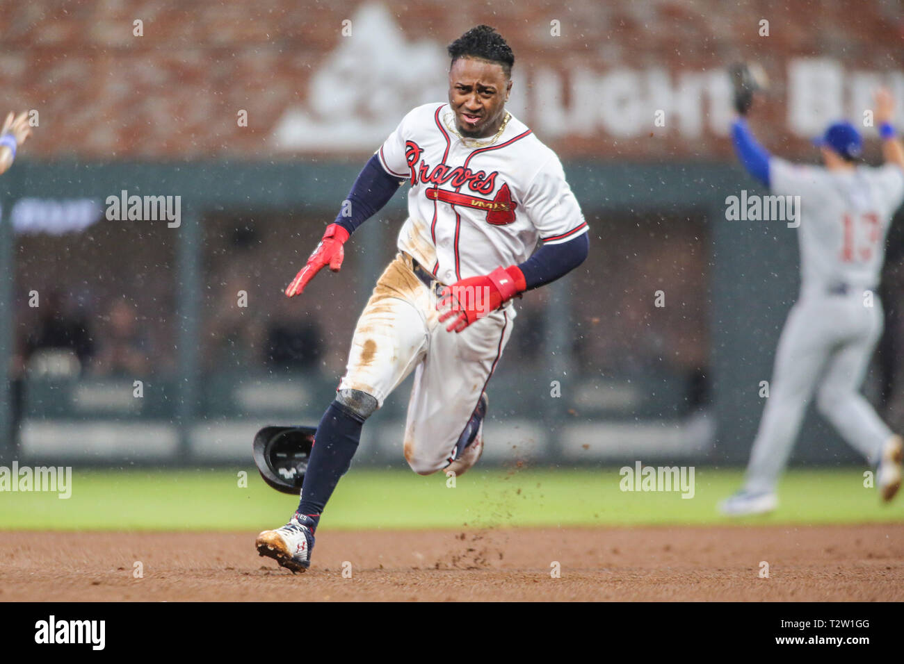 Atlanta, GA, USA. 4th Apr, 2019. Atlanta Braves second baseman Ozzie Albies (1) rounds second base during MLB action between the Chicago Cubs and the Atlanta Braves at SunTrust Park in Atlanta, GA. Jonathan Huff/CSM/Alamy Live News - Stock Image