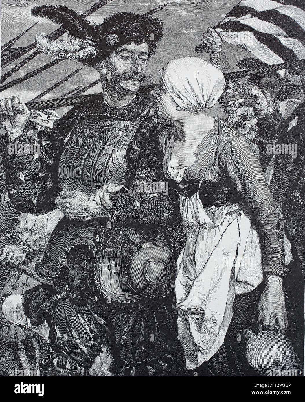 Lansquenets during the dreisigjährigen war, here with a landlady in the arm, painted by W. Diez, Landsknechte im dreisigjährigen Krieg, hier mit einer Wirtin am Arm, gemalt vom W. Diez - Stock Image