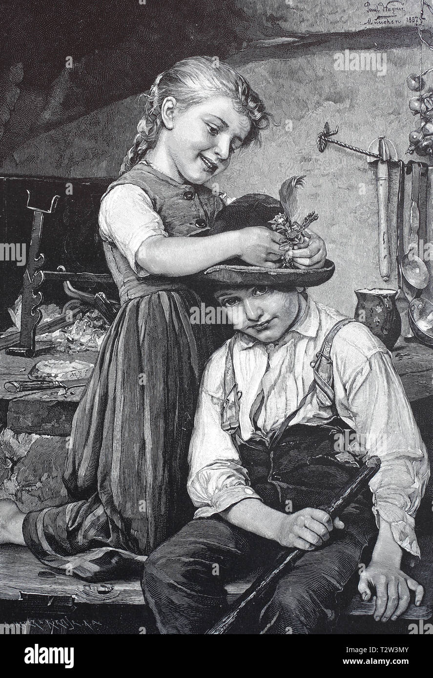 Reward, girl binds to a boy flowers and a feather in the hat, playfellow, Belohnung, Mädchen bindet einem Jungen Blumen und eine Feder in den Hut, Spielgefährtin Stock Photo