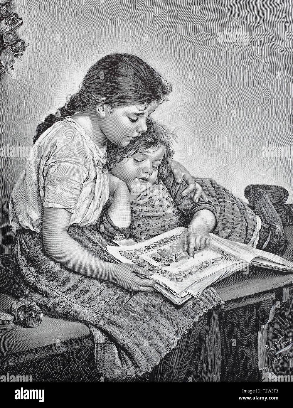 Two girls are deepened in a picture book, after a painting by Paul Wagner, Zwei Mädchen sind in einem Bilderbuch vertieft, nach einem Gemälde von Paul Wagner Stock Photo