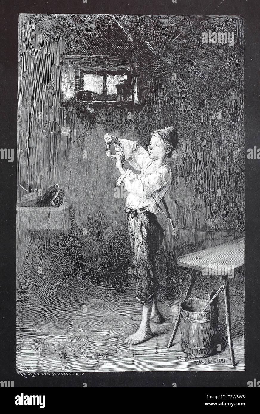 The apprentice tries to light in vain in the workshop a whistle, Der Lehrjunge versucht vergeblich in der Werkstatt eine Pfeife anzuzünden - Stock Image