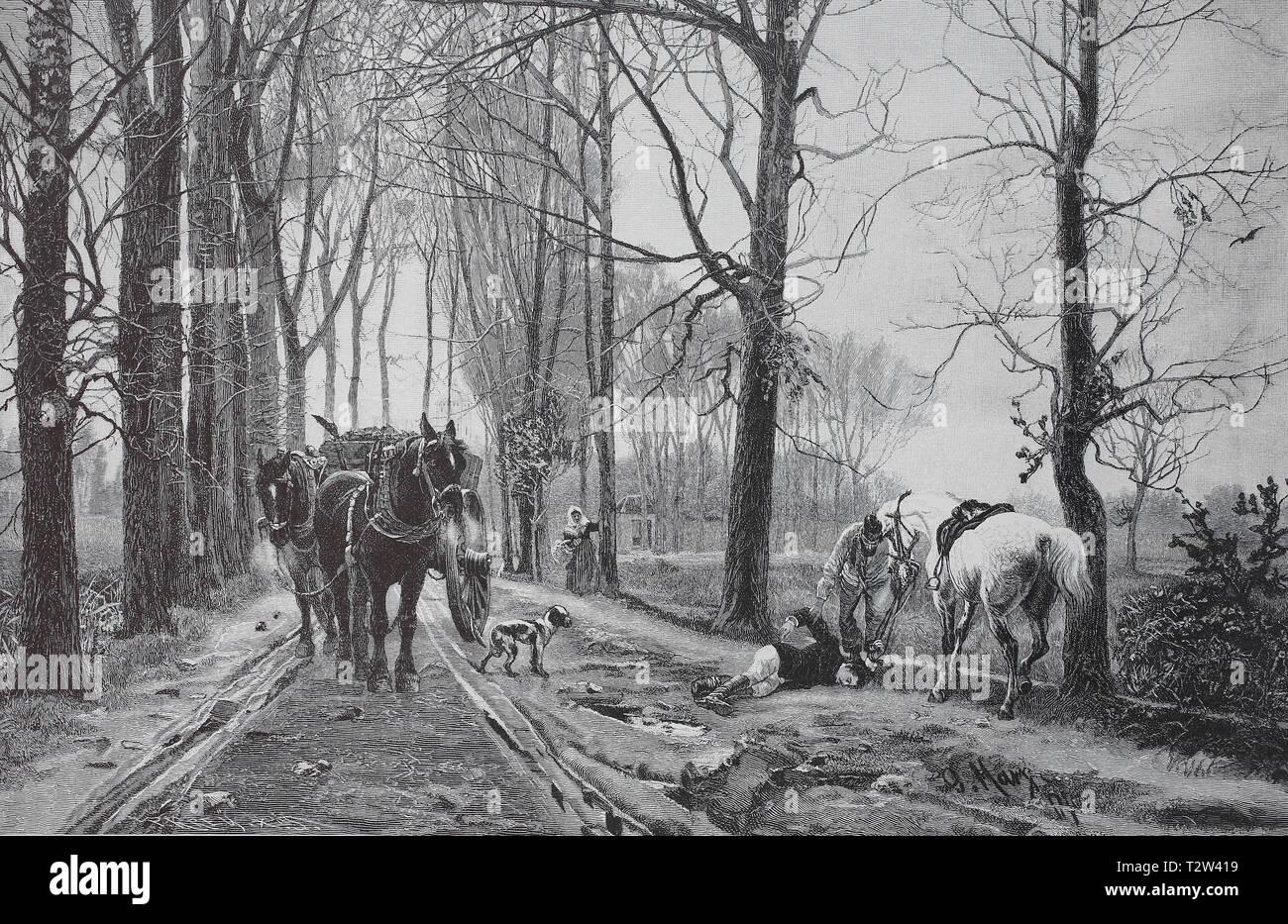Overthrown, a rider has liked from the horse and a coachman tried him to help, Gestürzt, ein Reiter ist vom Pferd gefallen und ein Kutscher versucht ihm zu helfen - Stock Image