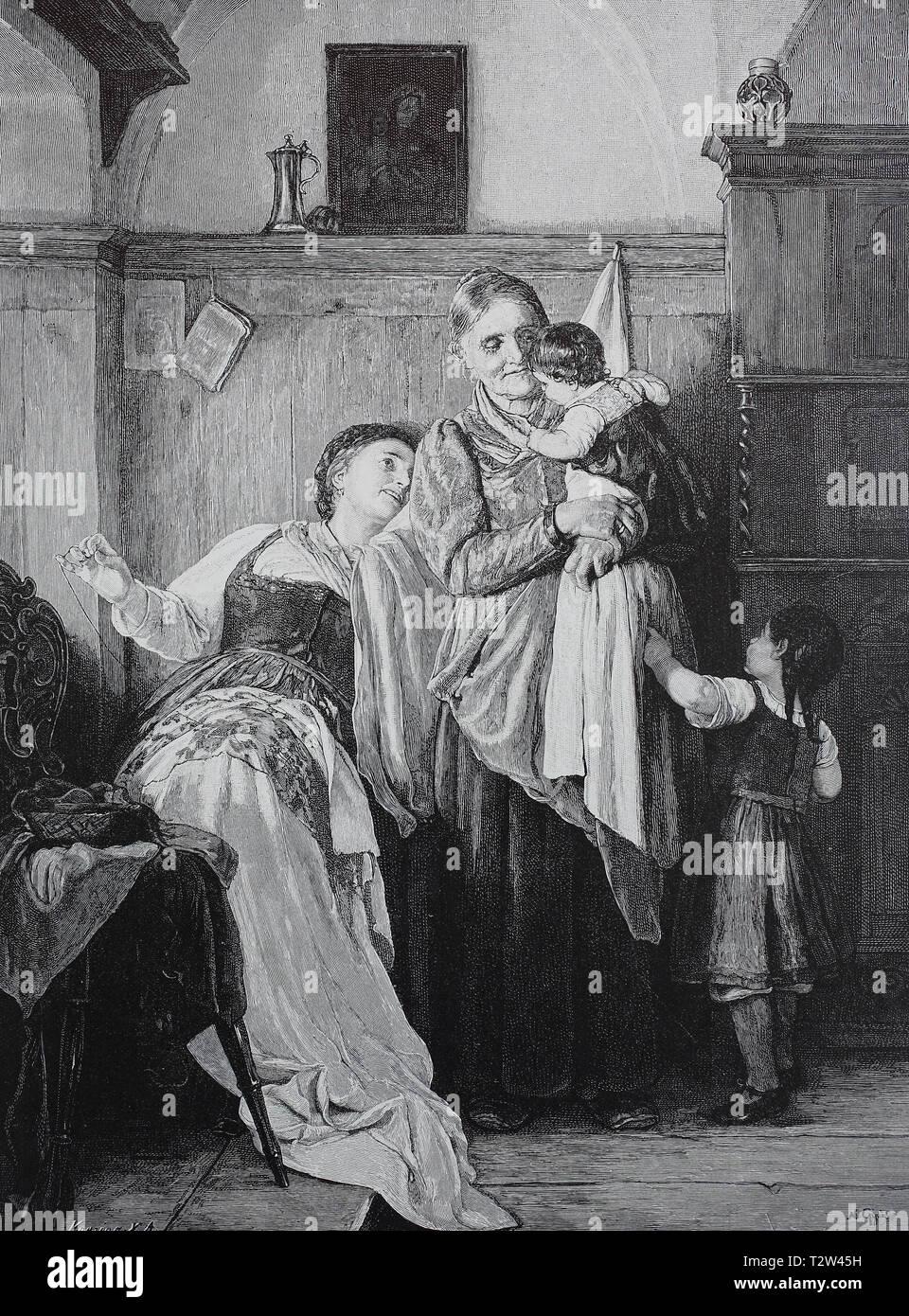 Grandmother, mother and two children in the room, the mother tries to hide playfully, Großmutter, Mutter und zwei Kinder im Zimmer, die Mutter versucht sich spielerisch zu verstecken - Stock Image