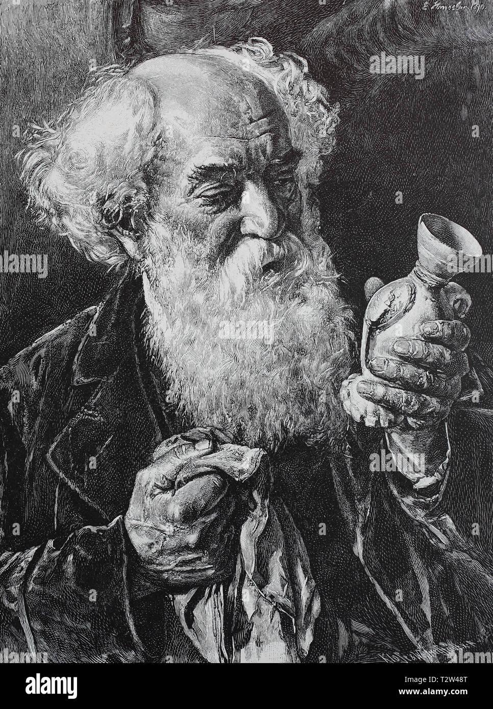 The collector, old man with full beard cleans a porcelain vase from his collection, Der Sammler, alter Mann mit Vollbart putzt eine Porzellanvase aus seiner Sammlung Stock Photo