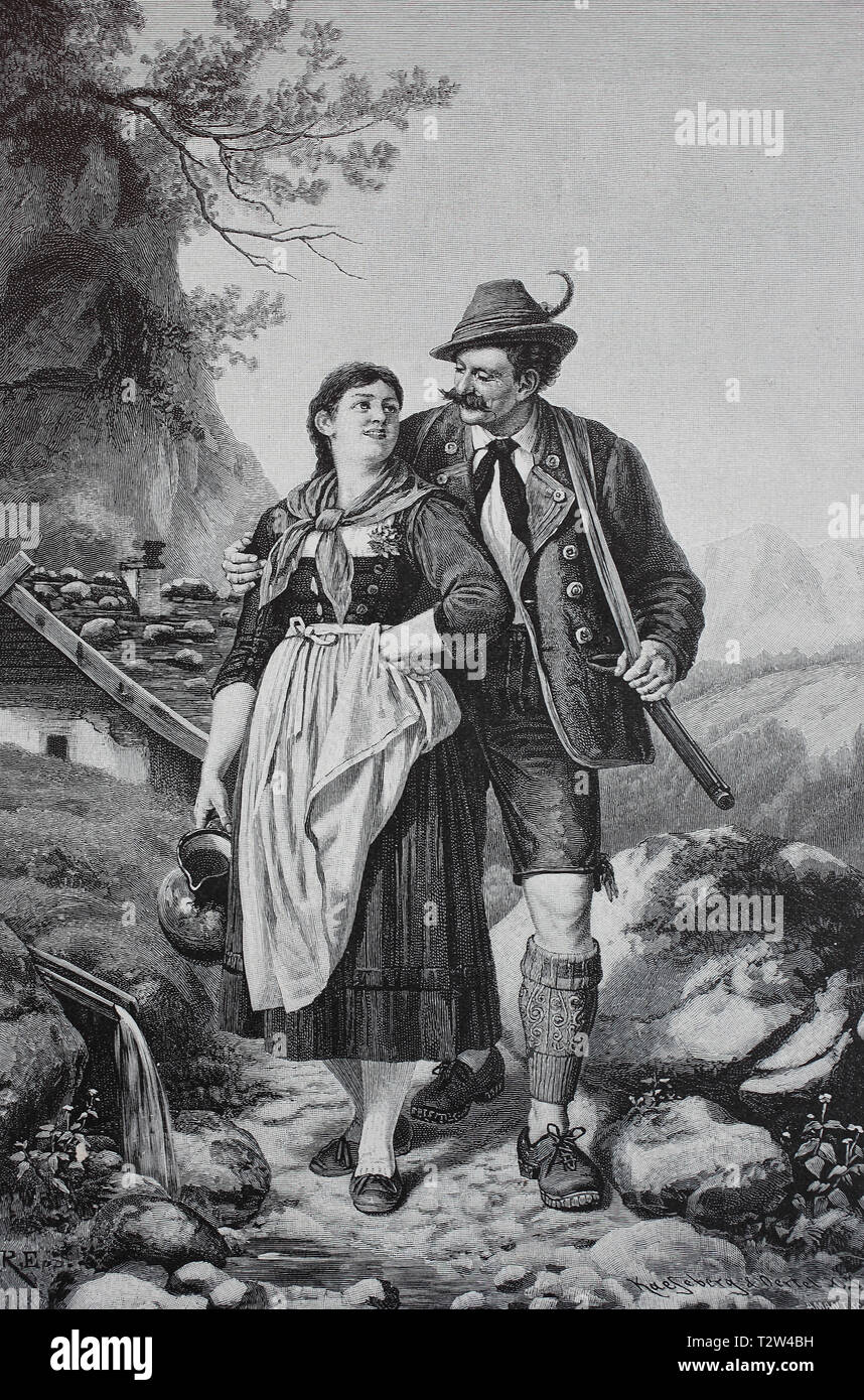 In the well, hunter accompanies the woman with the water jug to the well, Bavarians, Am Brunnen, Jäger begleitet die Frau mit dem Wasserkrug zum Brunnen, Bayern Stock Photo