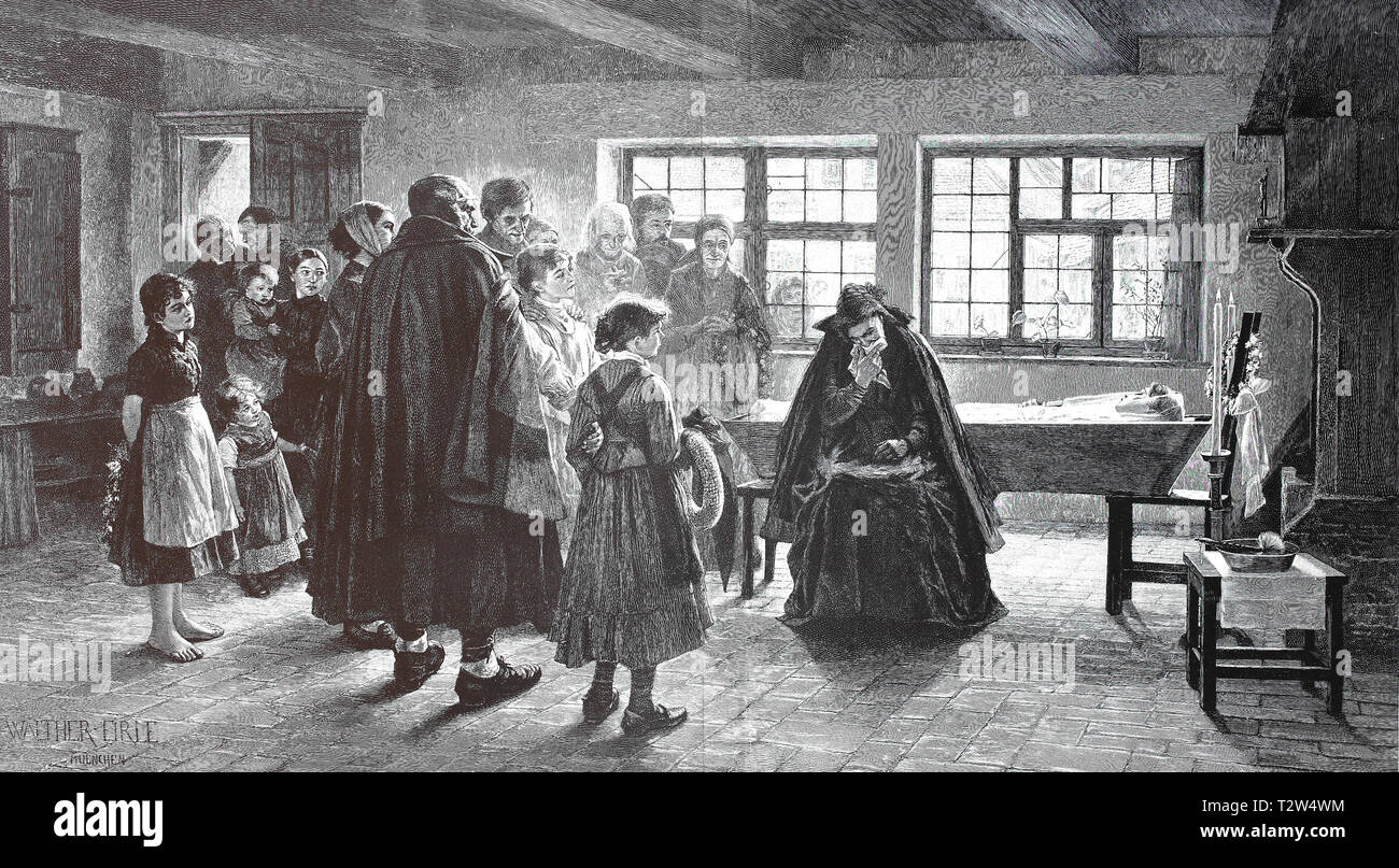 In the funereal house. Late woman is laid out in the open coffin and the mourning family says goodbye, Im Trauerhaus. Verstorbene Frau ist im offenen Sarg aufgebahrt und die trauernde Familie nimmt Abschied - Stock Image