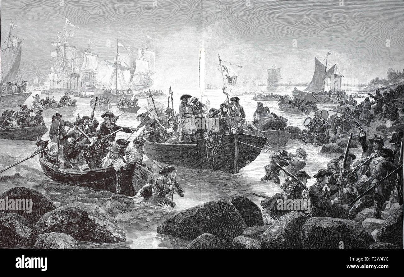 Landing of the big elector, Friedrich Wilhelm von Brandenburg, in 1620-1688, on Rügen, Germany, Landung des großen Kurfürsten, 1620-1688, auf Rügen, Deutschland - Stock Image